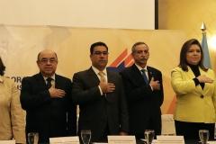 Óscar Pineda Navas, Presidente de la CSJ. Raul Melara, Fiscal General. Néstor Castaneda, presidente del TEG. Kenya Melgar, directora UTE